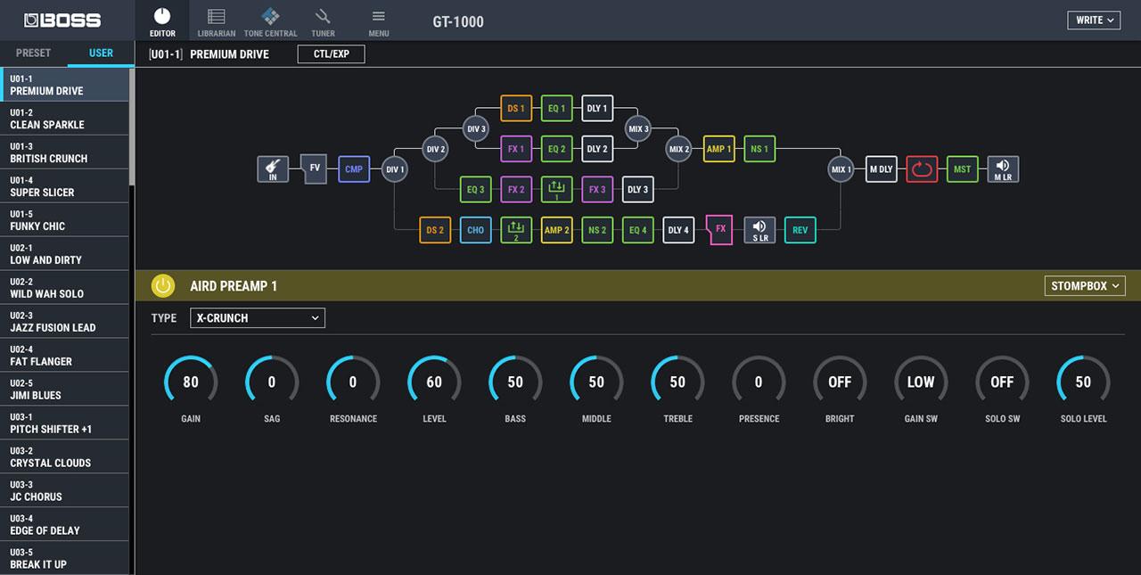 BOSS GT-1000 コントロール画面